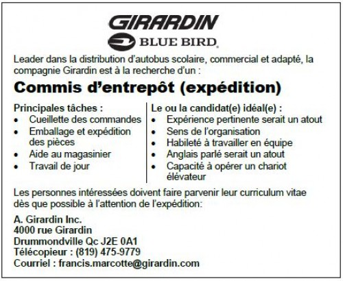 New Job Postings Available Now at Girardin in Drummondville